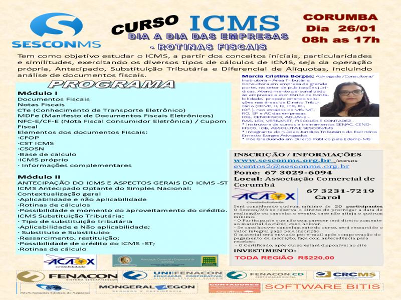 CURSO ICMS - DIA A DIA DAS EMPRESAS - ROTINAS FISCAIS